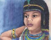 Queen Cleopatra watercolor Illustration 8x10 Print