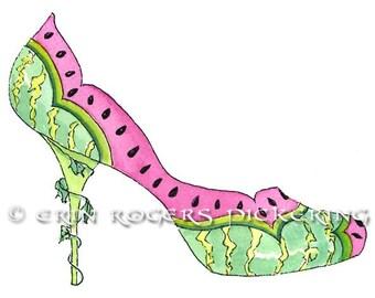 Watermelon fantasy shoe art 5x7 Print