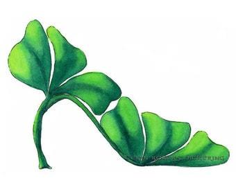 Shoe Art Green Shamrock Stiletto Shoe Fine Art Print