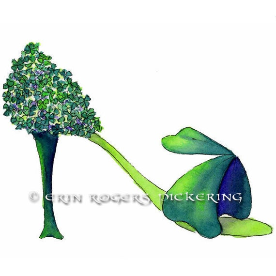 Shoe Art Green Mini Shamrocks St Patrick's Day 5x7 Print