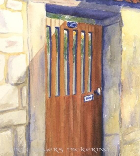 Doorways of France 5x7 Print of watercolor painting