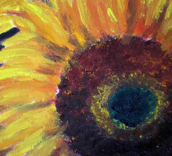 Original Acrylic Painting on Canvas 3 Sunflowers