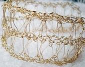 Victorian gold lace crochet bracelet, crochet gold filled wire bracelet