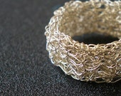 Crochet silver  ring- double layer- size made to order