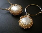 Once in a lifetime-  White pearls earrings, 14k gold filled