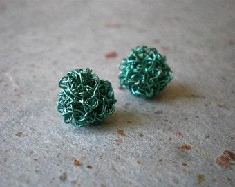 Crochet turquoise wire post earrings, Crochet stud earrings