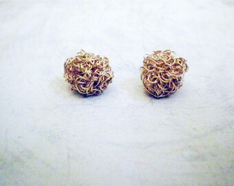 Small crochet gold filled post earrings