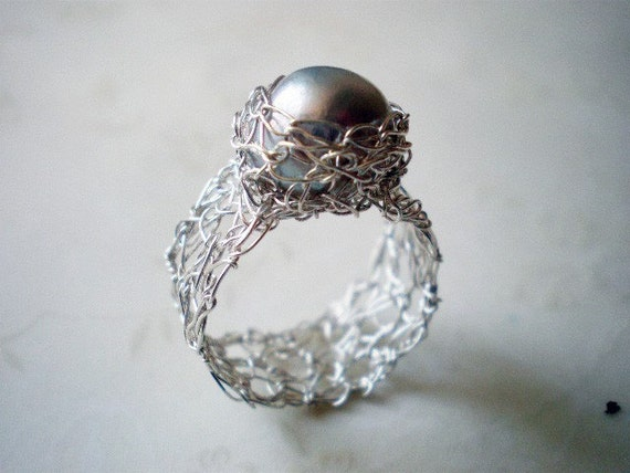 Once in a lifetime crochet pearl ring-  fine silver