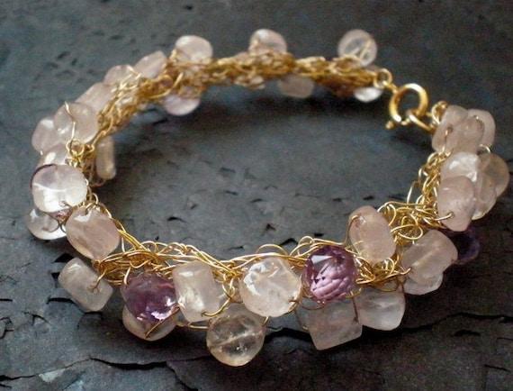 SALE 50% OFF- Rose quartz and Amethyst Bracelet- 14k Gold Filled, crochet wire bracelet