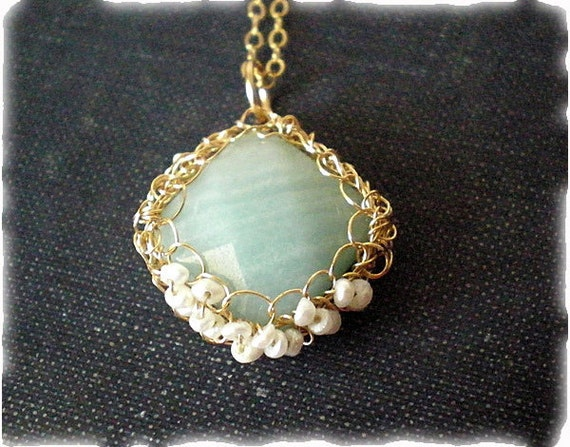 Crochet gold necklace with amazonite - Sky