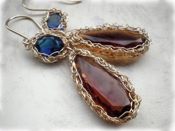 RESERVED - Crochet gold earrings, crochet gold wire earrings, Golden Brown