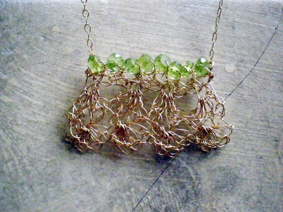Crochet gold necklace, Crochet gold wire and peridot necklace, crochet gold filled necklace