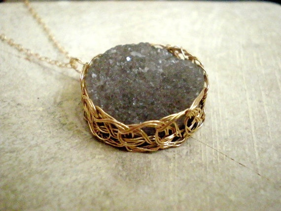 Crochet gold filled druzy pendant necklace - Earth