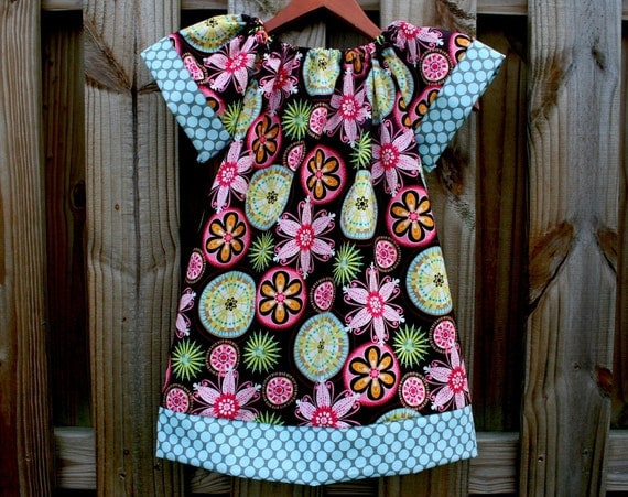 Michael Miller CARNIVAL BLOOM Tunic Dress with Blue Polka dotted border