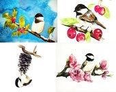 Assorted Note cards- From Chickadee original watercolor, Set of 8