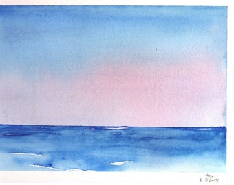 "Original Watercolor 9""x12"" - Sky and Sea"
