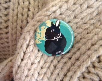 Happy Bunny Rabbit Original Design Pin Button - Mint Green