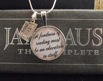 "Fondness of Reading- Emma- Jane Austen- buy two get one free- includes a 16"" or 18"" snake chain- READY TO SHIP"