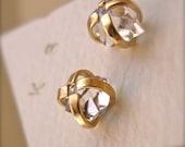 Herkimer Diamond Earrings - Mixed Metal - 14 Karat Gold and Silver- 6mm