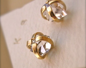 Herkimer Diamond Earrings - Mixed Metal - 14 Karat Gold and Silver- 6mm