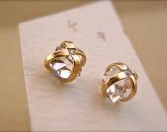 SALE - Herkimer Diamond Earrings in Solid 14 Karat Gold - 6mm