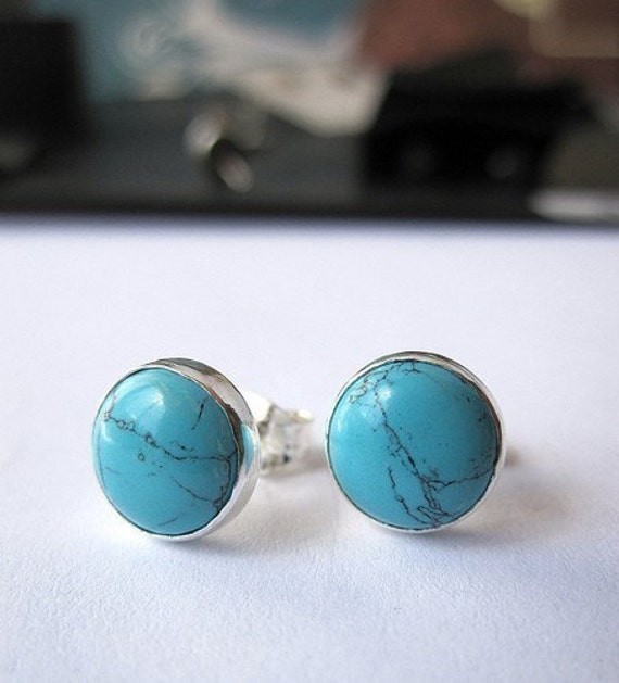 SALE - Turquoise Stud Earrings with Sterling and Fine Silver - 8mm