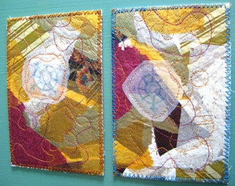Fabric postcards, compass