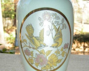 White Porcelain Vase with Birds and Flowers