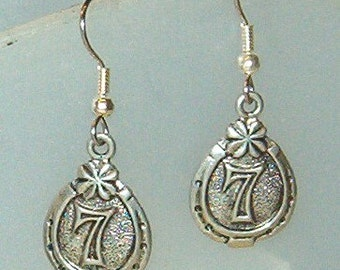 Earrings - Horseshoe with 7 and Clover