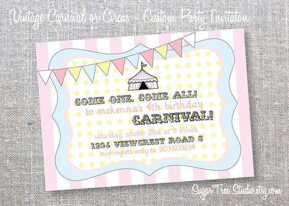 Vintage Circus or Carnival - Custom Birthday Invitation
