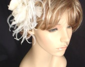 White Wedding Fascinator -- Large Cabbage Rose and Feathers