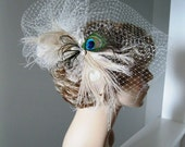 Bridal Veil with poof and Headpiece
