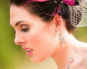 Wedding Birdcage Veil, Wedding Fascinator -- Close-up of Scarlett's Veil and Headpiece