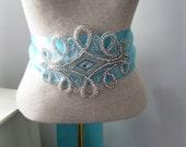 Wedding Sash, Bridal Sash-- Rhinestone Wedding SASH -- A Long Satin Ribbon Sash for your Wedding Dress