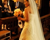 Traditional Wedding Veil, Long Bridal Veil in White, diamond white, ivory and more