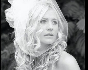 Wedding Veil, Birdcage Veil with Bubble -- Side Swirl Variation in Tulle