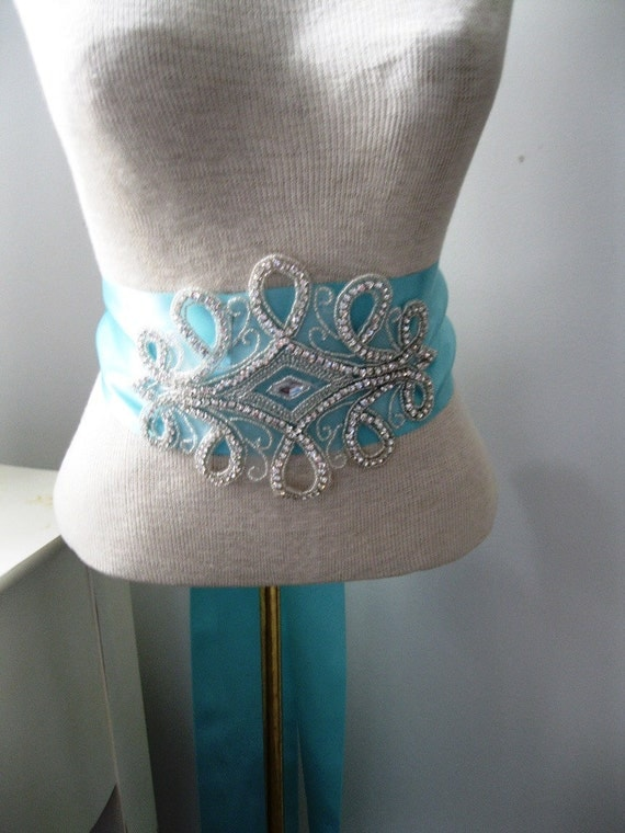 Wedding Sash, Bridal Sash-- Rhinestone Wedding SASH -- A Long Satin Ribbon Sash for your Wedding Dress