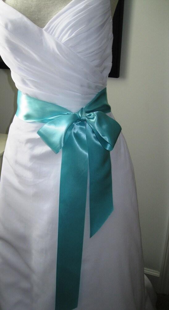 Tiffany blue wedding belt bridal sash a short satin for Aqua blue and white wedding dresses