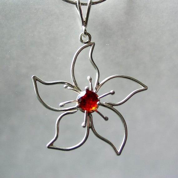 Sterling Silver Flower Pendant with Garnet