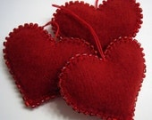 Dark Red Beaded Heart Ornaments Handmade from Felted Wool Sweaters