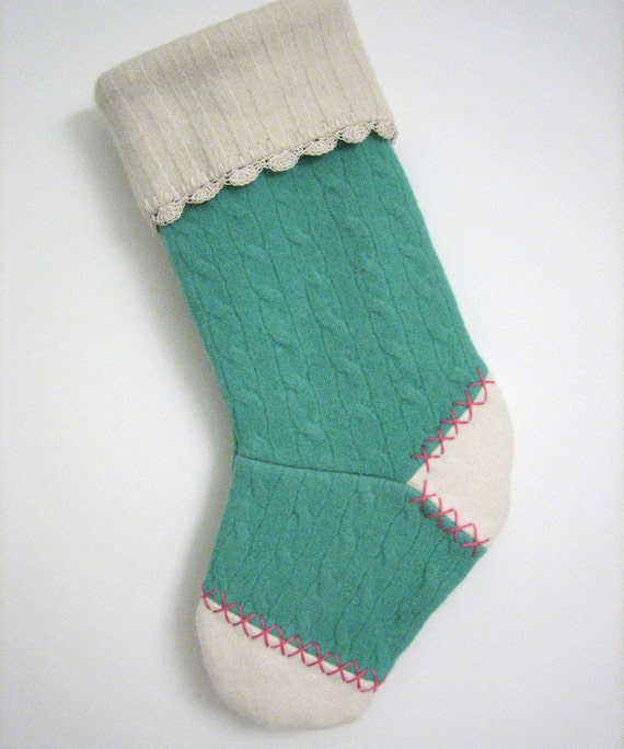 Green Cable Knit with Pink Christmas Stocking Handmade from Felted Wool Sweaters