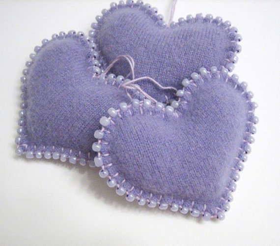 Three Light Purple - Lavender Heart Valentines Day Ornaments Handmade from Felted Cashmere Sweaters