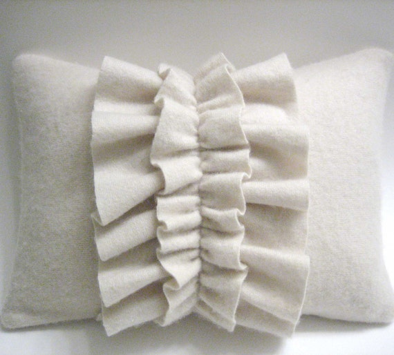 Off White Cashmere Ruffle Lumbar Pillow Handmade from Felted Cashmere Sweaters