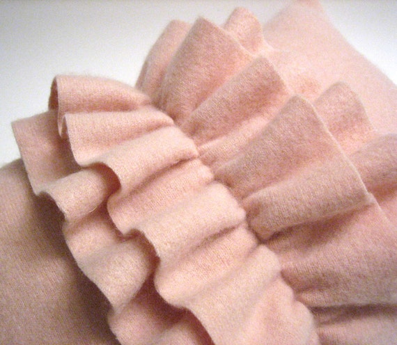 Light Pink Cashmere Ruffle throw Pillow Handmade from Felted
