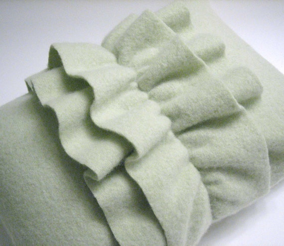 Light Green Cashmere Ruffled Throw Pillow Handmade from Felted Cashmere Sweaters 10x14 (no.112)