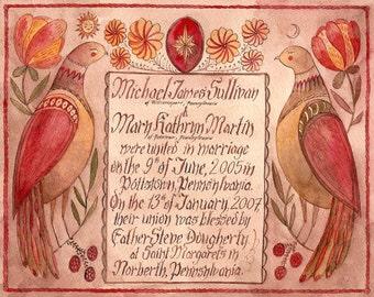 Hand Painted Wedding Certificates- Deposit (Love Birds 2)