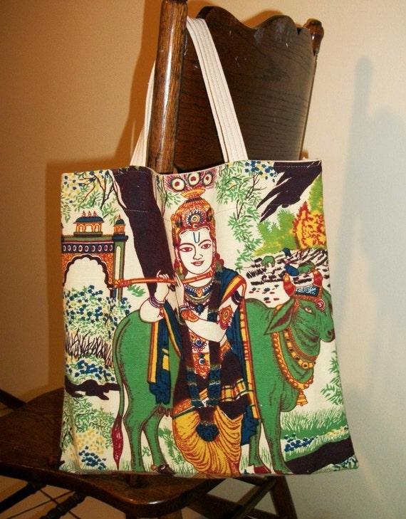 India Print Bag. Reusable Tote or Book Bag in Exotic Print Fabric