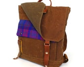 Waxed Canvas Backpack with Purple Plaid