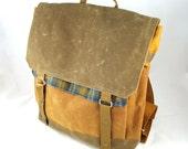 Blue Plaid Waxed Canvas Backpack
