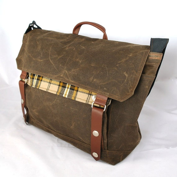 Chocolate Waxed Canvas Messenger